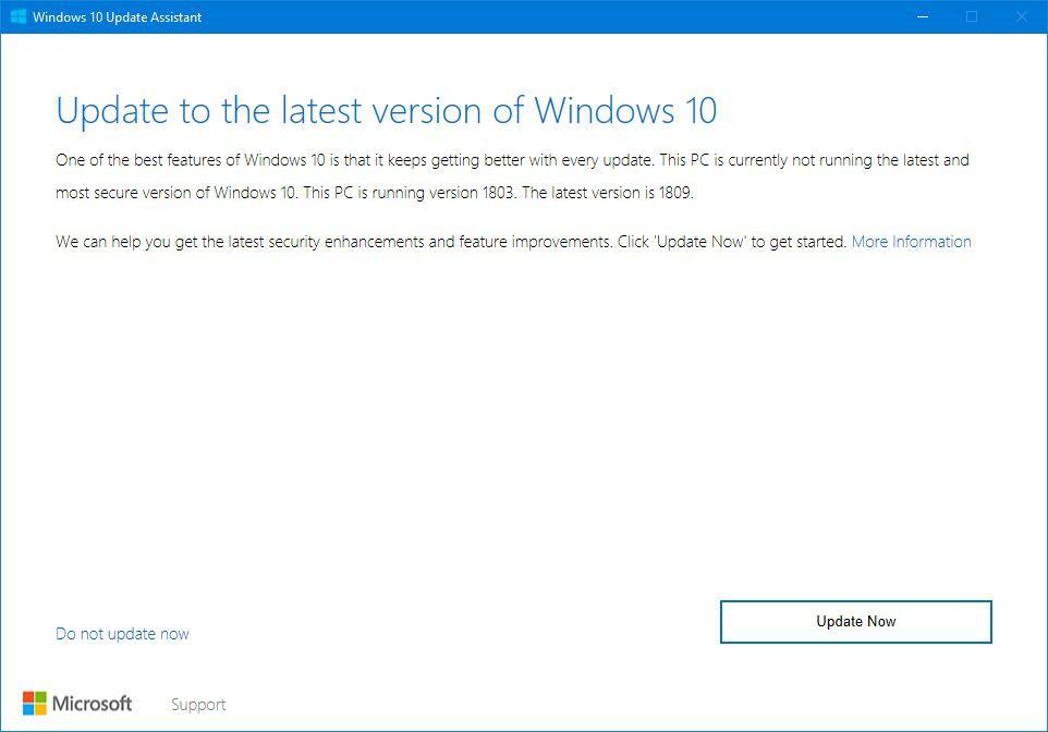 Windows 10 Güncelleme Yardımcısı ile 1809 Sürümüne Yükseltmek