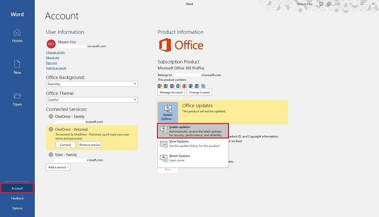 Office için Güncellemeleri Etkinleştirme