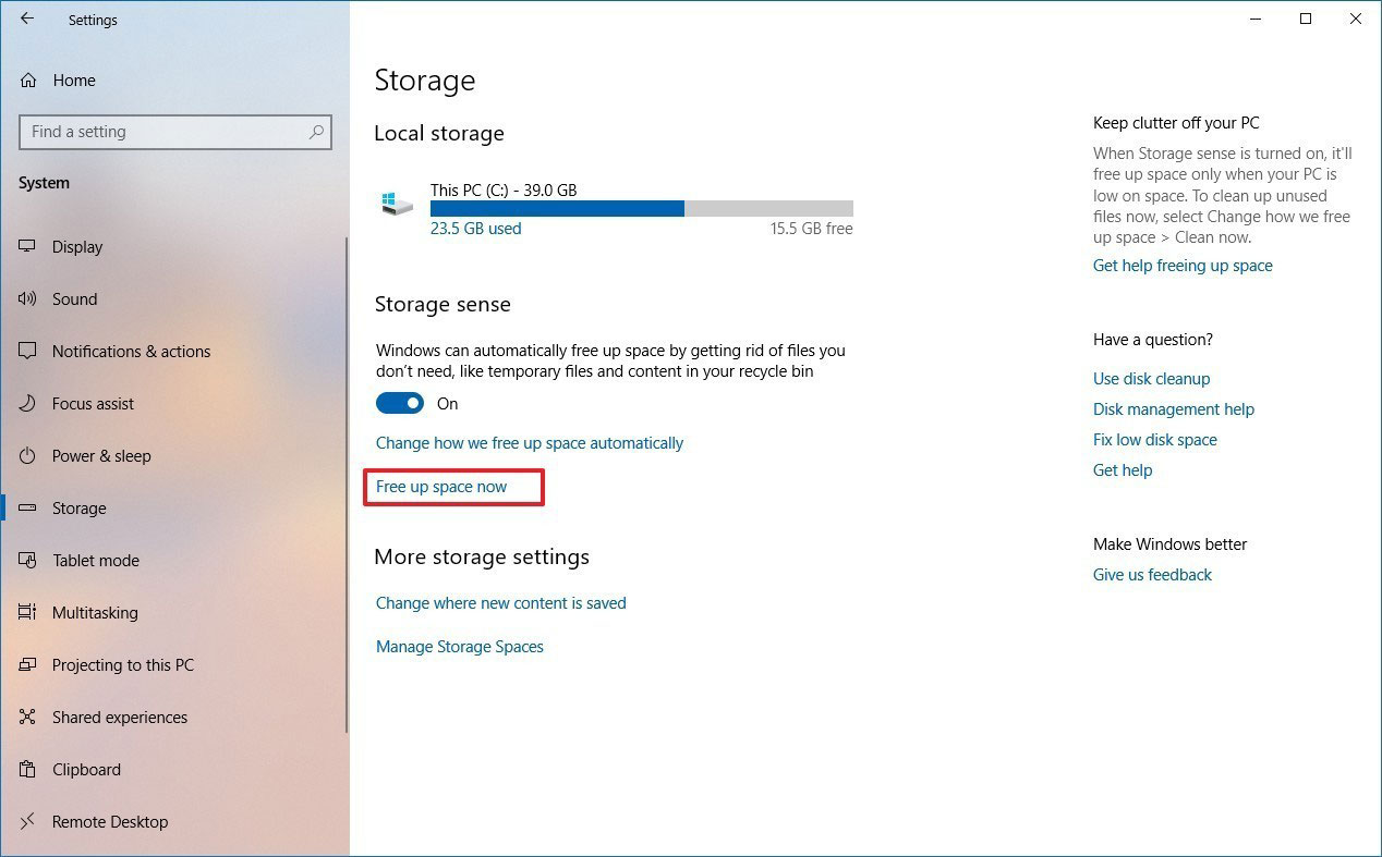 Geçici Dosya Ayarlarını Kullanarak Windows.old Klasörünü Silebilirsiniz
