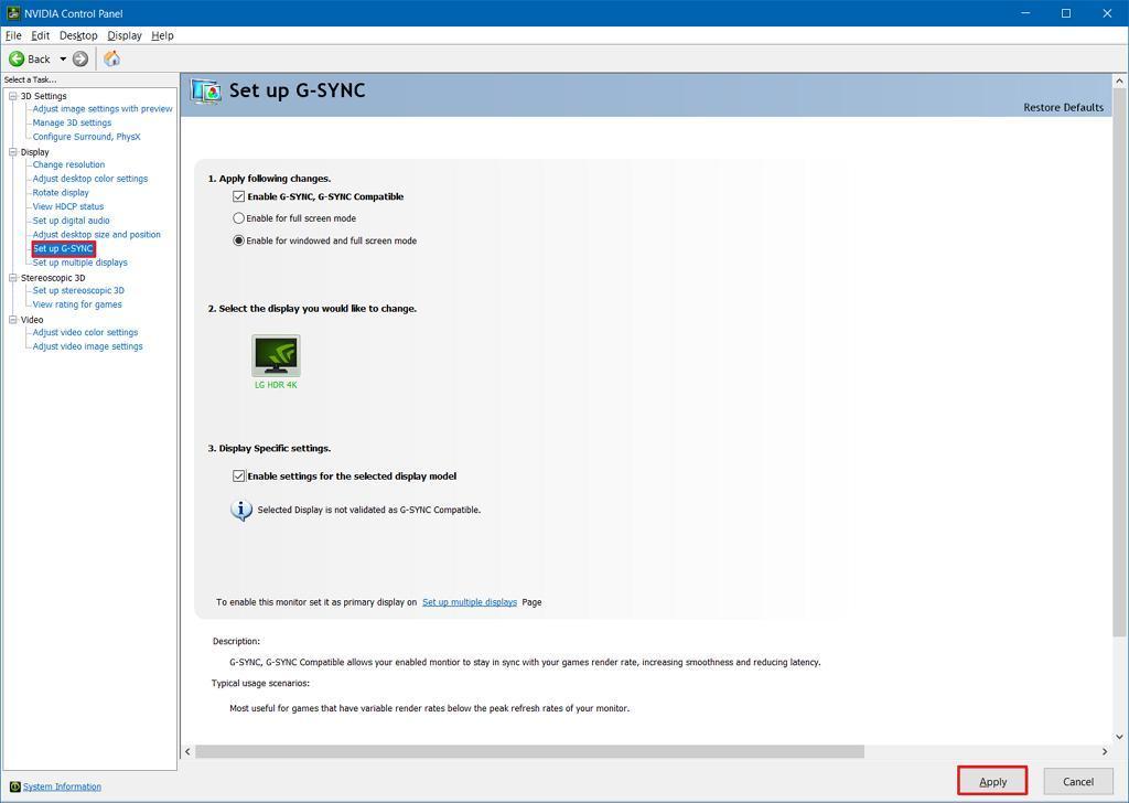 Windows 10 için FreeSync Monitorde G-Sync Etkinleştirmek