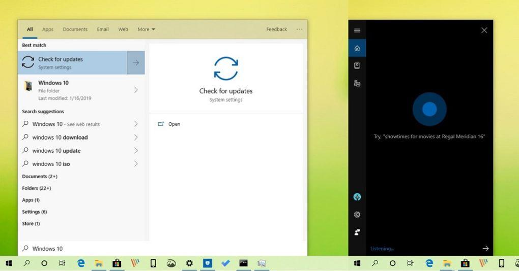 Windows 10'da Cortana ve Arama Pencereleri Ayrılıyor