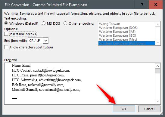 Microsoft Word Belgesini CSV Dosyasına Dönüştürmek