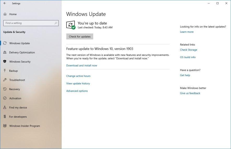 Windows 10 1903 Güncelleme Bildirimi
