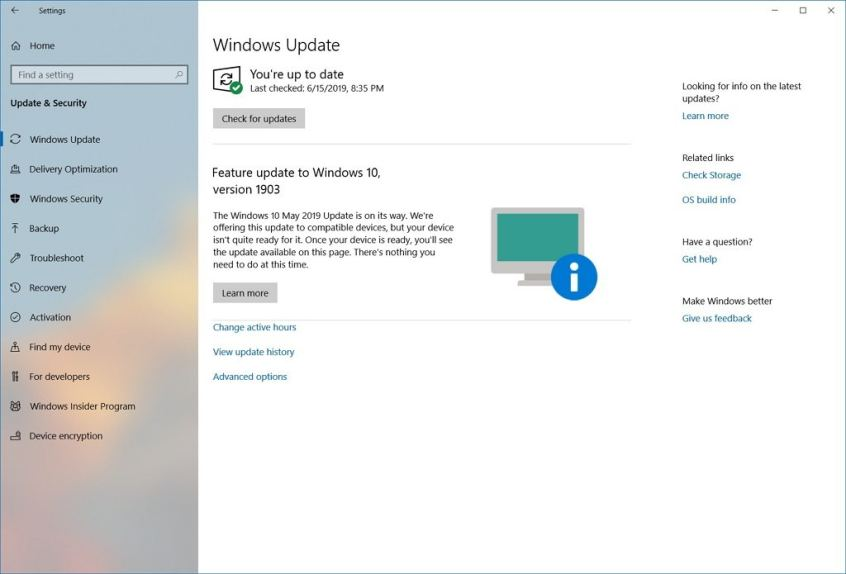 Windows 10 1903 Hazır Değil Bildirimi