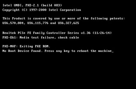 PXE: Media Test Failure, Check Cable Probleminin Çözümü