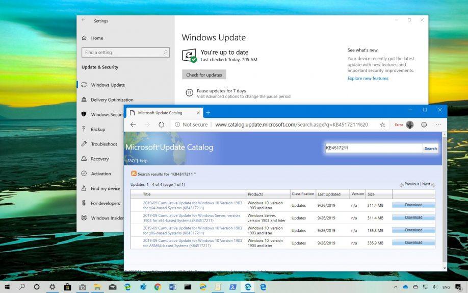 Windows 10 1903 Mayıs Güncellemesi için KB4517211 Yayınlandı