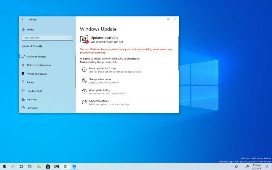 Windows 10 2003 Güncellemesi için 18975 Yayınlandı