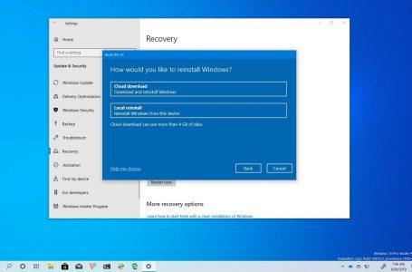 Windows 10 Bu Bilgisayarı Sıfırla özelliği için Cloud Download seçeneği getiriyor