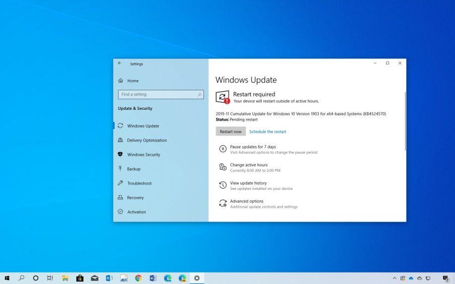 Windows 10 1909 Kasım Güncellemesi için KB4524570 Yayınlandı