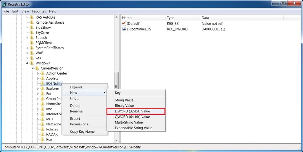 Windows 7 için tam ekran destek bitiş bildirimini kapatabilirsiniz