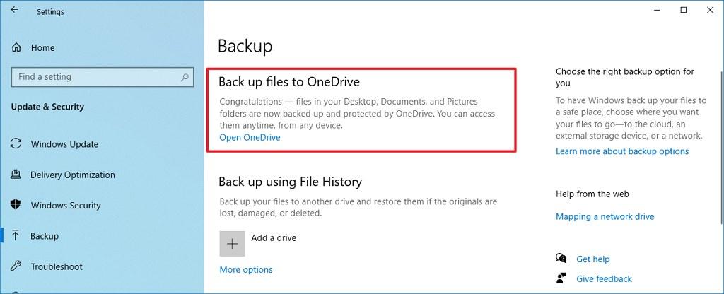 Windows 10 Mayıs 2020 Güncelleştirmesi OneDrive Yedekleme Seçeneği