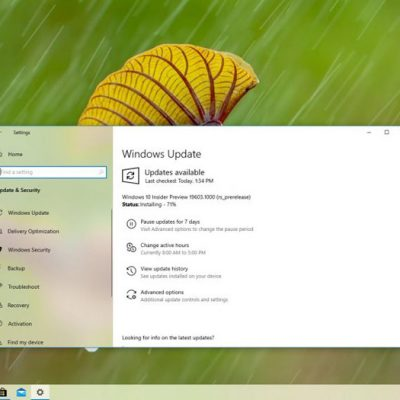 Windows 10 2004 Güncellemesi için 19603 Yayınlandı