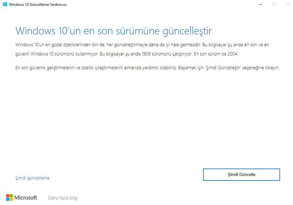 Windows 10 2004 Yükseltme