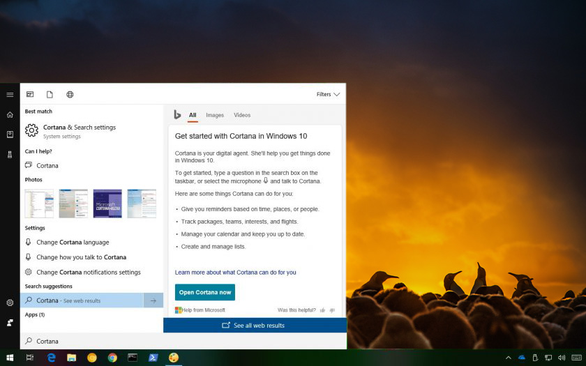Windows 10 arama çubuğu kapatma