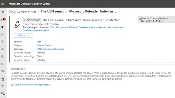 Microsoft Defender ATP için UEFI tarama özelliği geldi