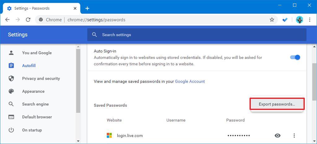 Chrome şifreleri dışa aktarma seçeneği