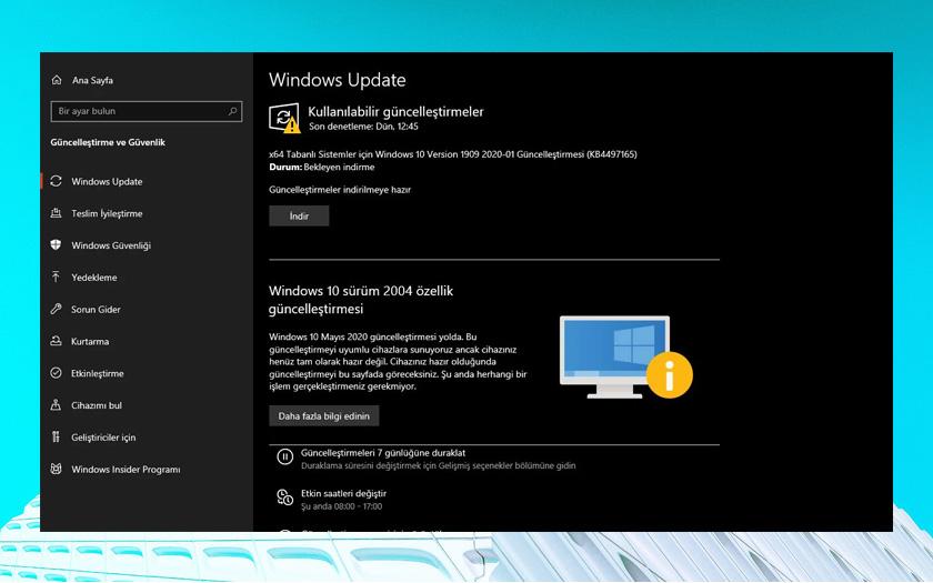 Windows 10 2004 için uyumluluk ekranı