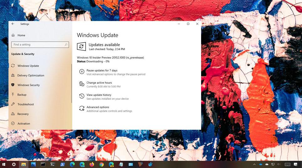 Windows 10 20152 derlemesi
