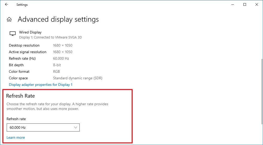 Windows 10 20H2 - Ekran Yenileme Hızı