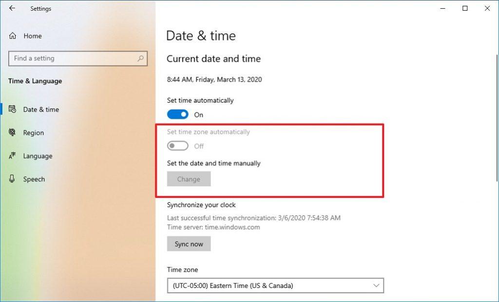 Windows 10 21H1 - Zaman ve Dil