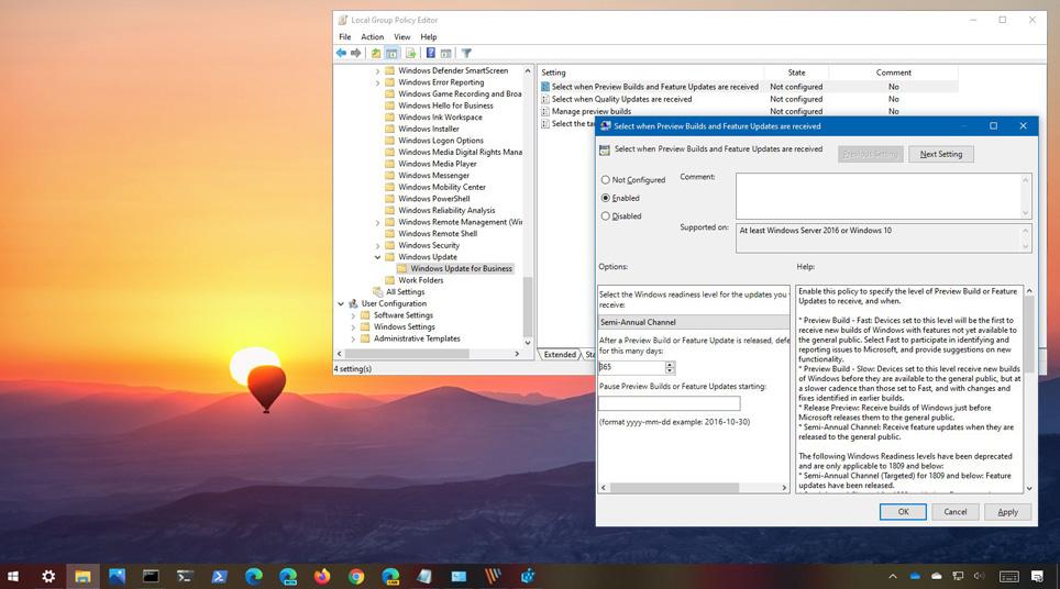 Windows 10'da Group Policy ile özellik güncelleştirmelerini erteleme