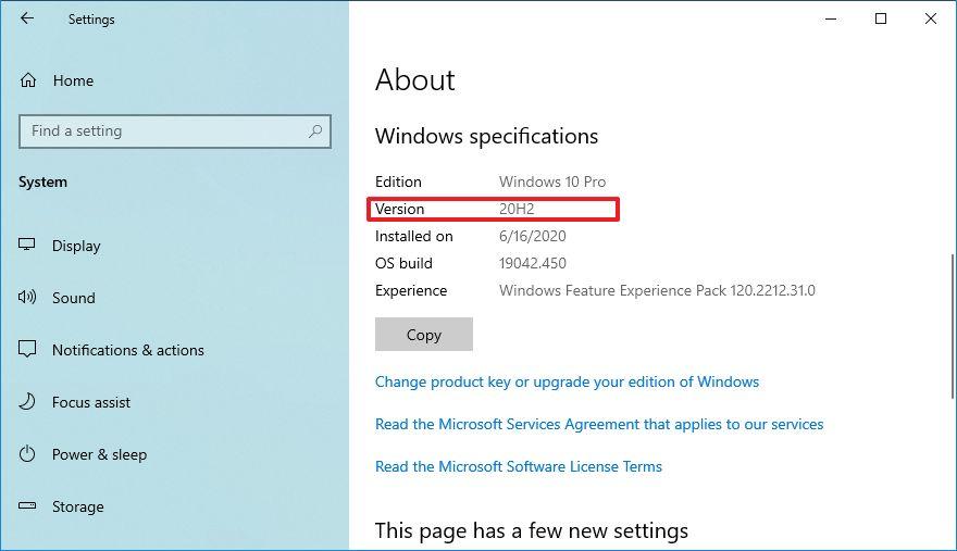 Windows 10 20H2 sürümü kontrol