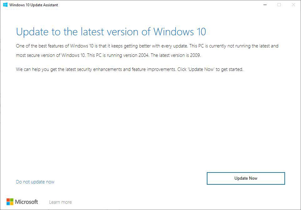 Windows 10 20H2 Güncelleme Yardımcısı