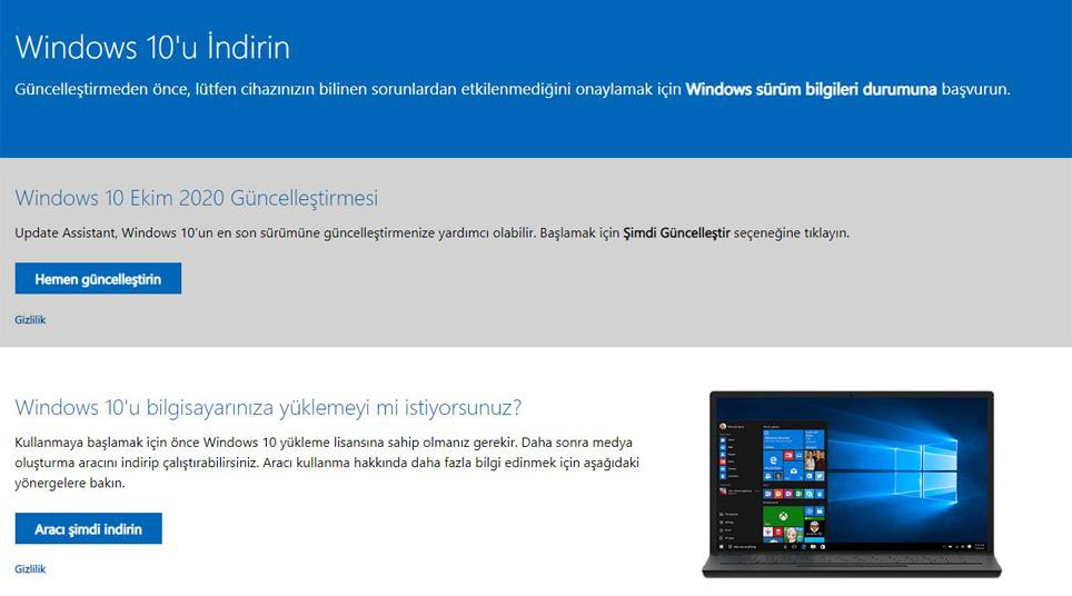 Windows 10 20H2 ISO indir