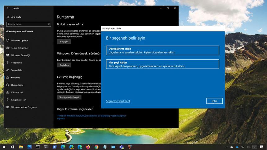 Windows 10 Bu bilgisayar sıfırlanıyor takılma sorunu