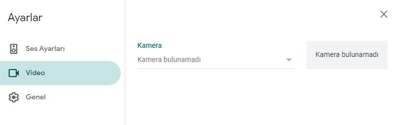 Google Meet kamera ayarları