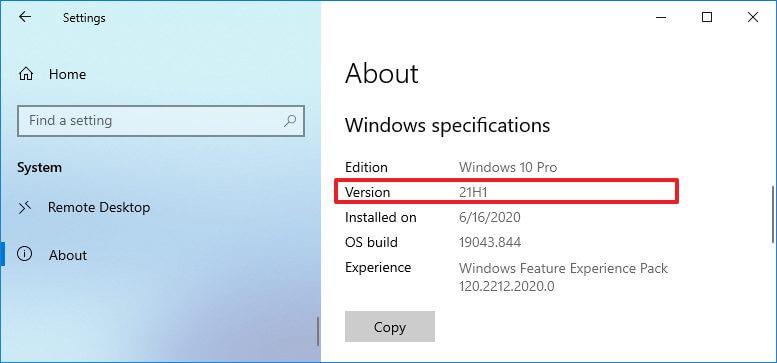 Windows 10 21H1 sürümü kontrol