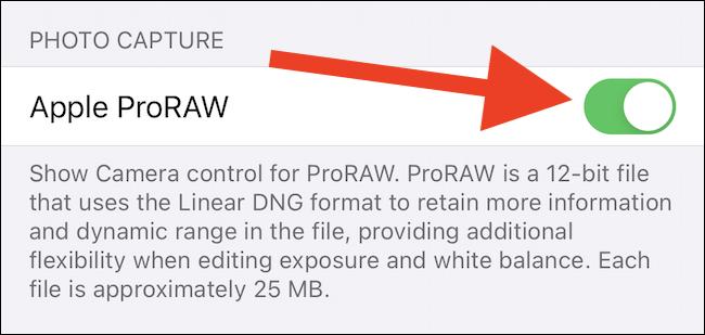 Apple ProRAW Etkinleştirme