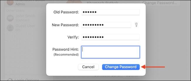 Mac Şifre Değiştirme